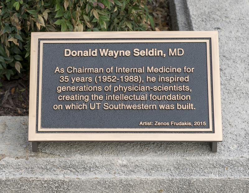 Information plaque near bronze statue honoring Donald Wayne Seldin MD, Dallas, Texas stock images
