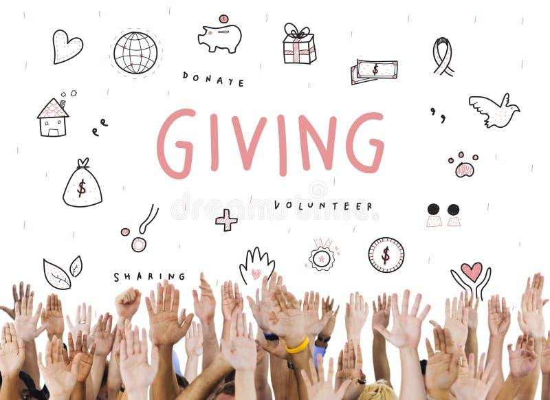 Donante de concepto de la ayuda de la fundación de la caridad de las donaciones foto de archivo libre de regalías