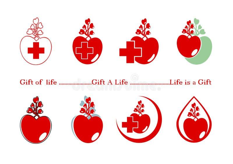 Donante de la designación de la muestra, regalo a la vida, logotipo del médico, icono con el corazón rojo y Cruz Roja Vida y salu ilustración del vector