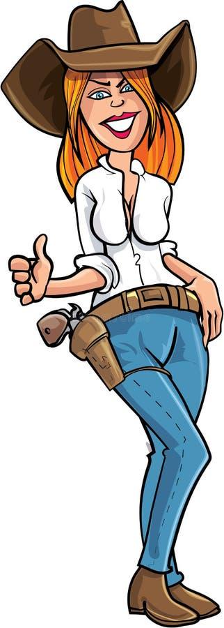 Donante de la vaquera de la historieta pulgares para arriba stock de ilustración