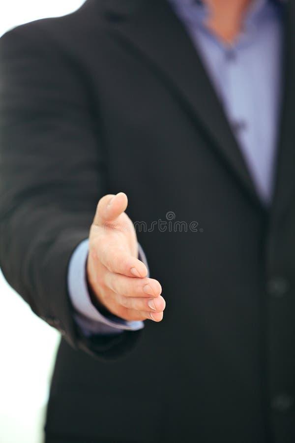 Donante del hombre de negocios pulgares para arriba imagen de archivo