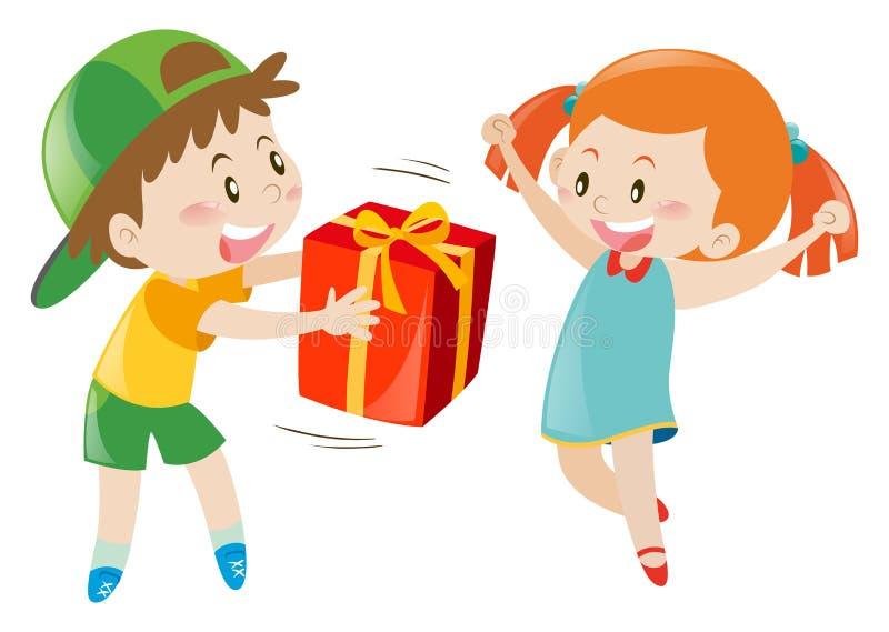 Donante del muchacho presente a la muchacha libre illustration