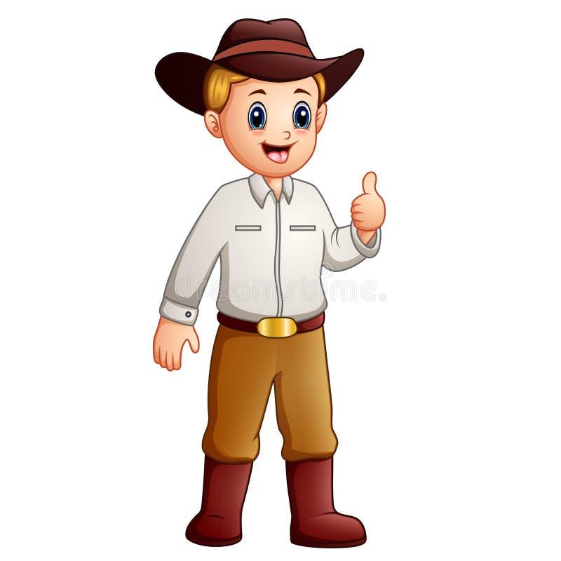 Donante del vaquero de la historieta pulgares para arriba y sonrisa libre illustration