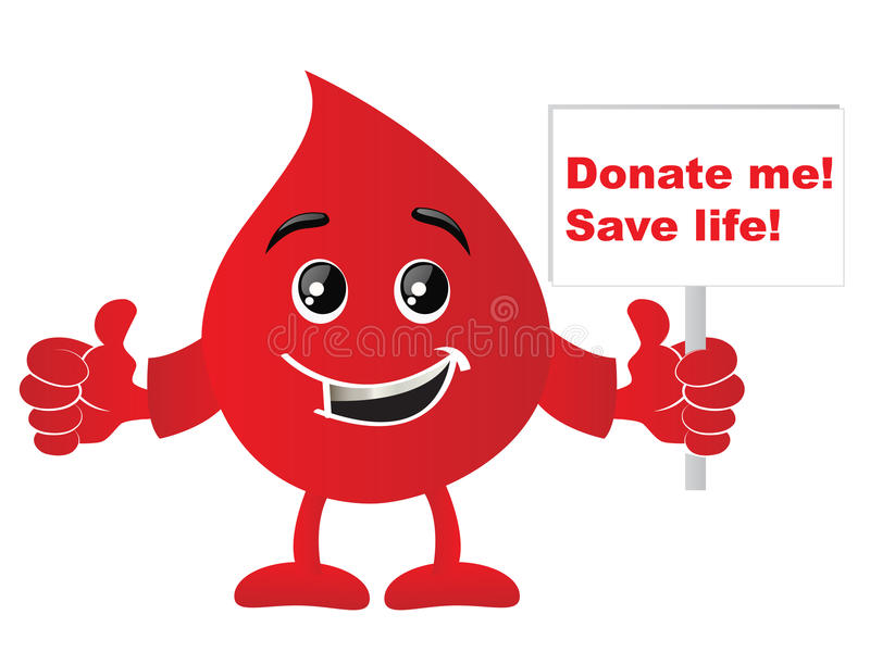 Donate Blood. Blood drop showing the sign of Donate me! Save life stock illustration