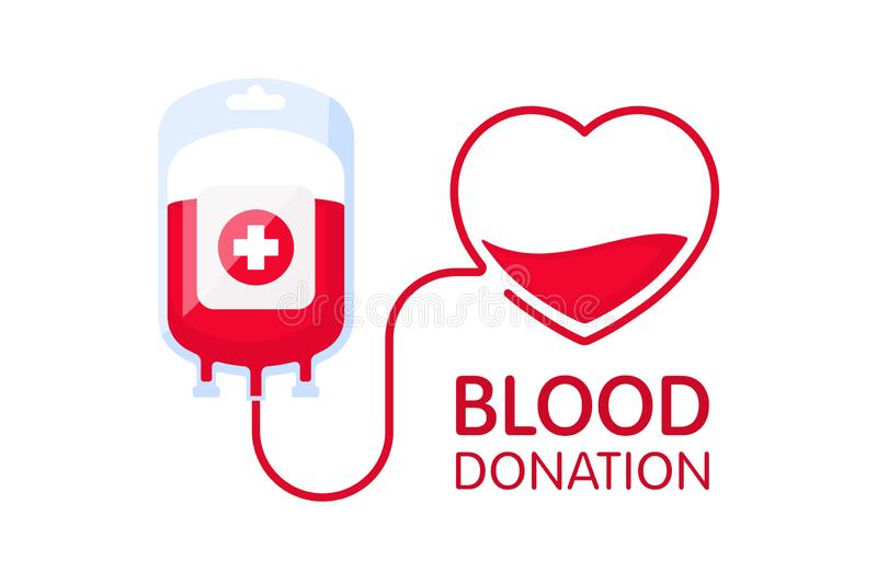 Donate blood concept with blood bag and heart. Blood donation vector illustration. World blood donor day - June 14. Donate blood concept with blood bag and stock illustration