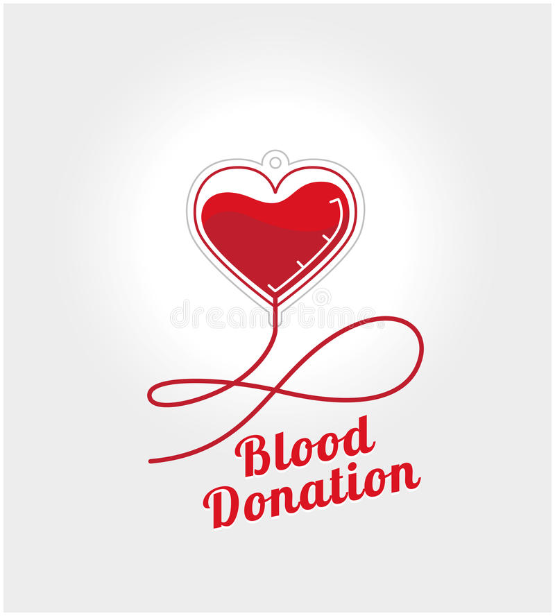 Donate blood logo. Concept. Element dropper in the shape of heart with blood on a white background and space for text royalty free illustration