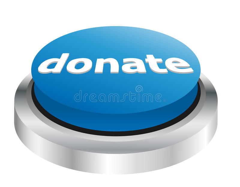 Donate button. Illustration of blue donate button