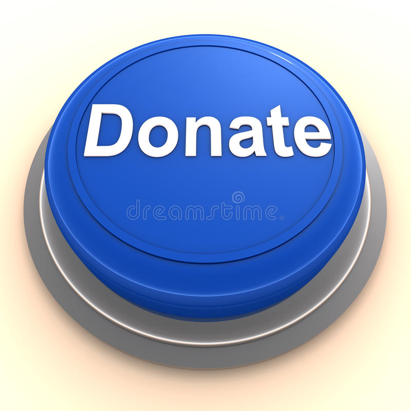 Donate button. Push the button to donate, donation and giving away concept, button in blue plastic in metal insert on white surface vector illustration