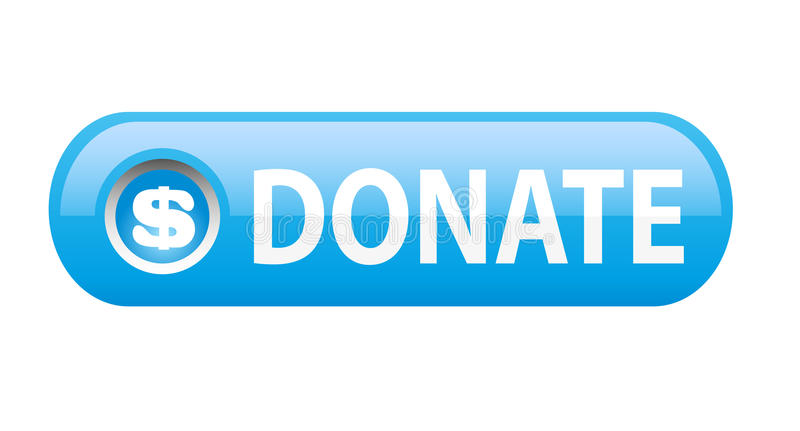 Donate button. Blue donate button on white background vector illustration