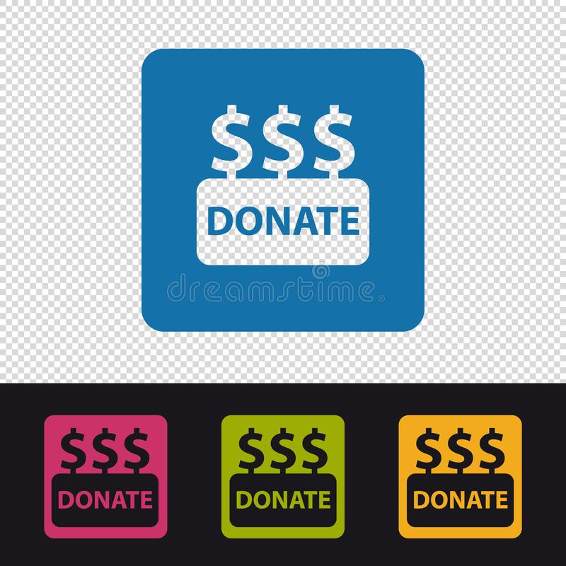 Donate Buttons - Colorful Vector Illustration - Isolated On Transparent Background stock illustration