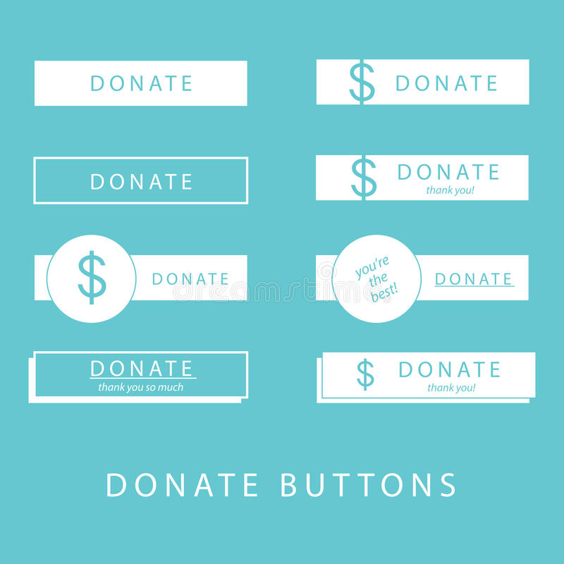 Donate Buttons. In simple, flat design vector style for website donations royalty free illustration