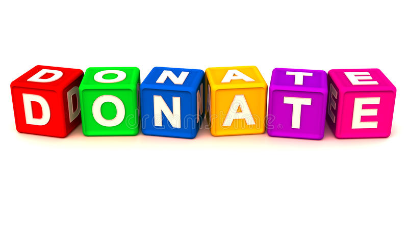 Donate or charity. Word donate made up with dice in vivid colors showing donation and giving away spirit royalty free illustration