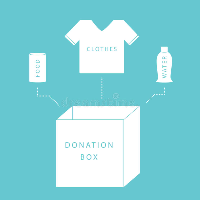 Donate. Concept of a donation box with food, water and clothing in simple, flat vector style vector illustration