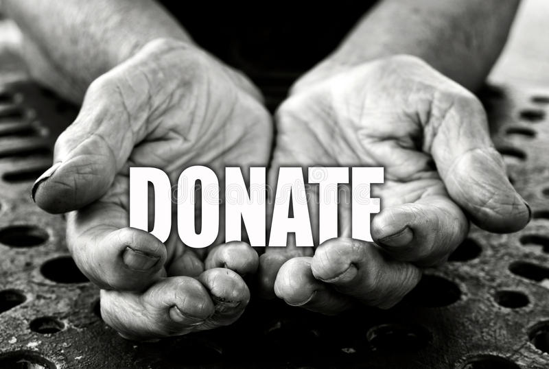 Donate concept. In the old female hands royalty free stock photos