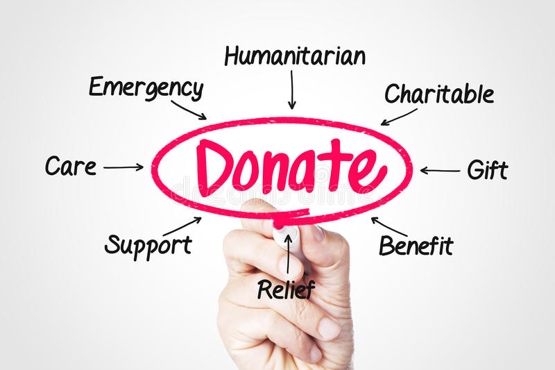 Donate. Concept sketched on screen royalty free stock images