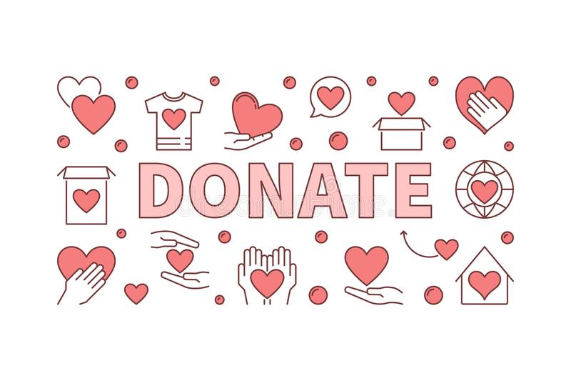 Donate creative horizontal illustration. Vector charity banner vector illustration