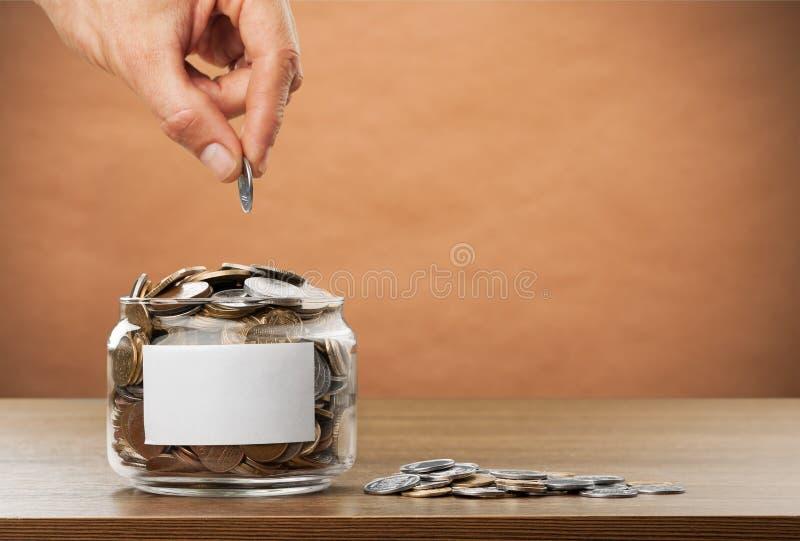 Donate. Money assistance bank cash change coin stock photo