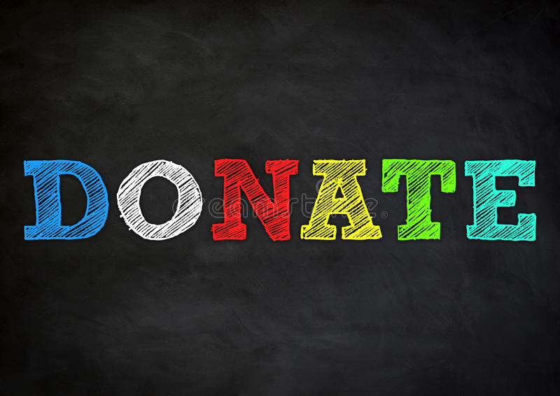 Donate. Gift - black chalkboard illustration stock illustration