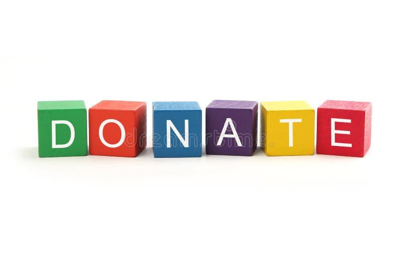 Donate. Headline block isolated on white stock image