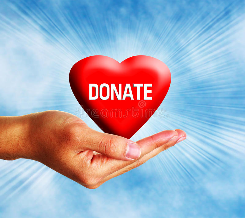 Donate Heart. Red donate heart with hand on scattered cloudy sky vector illustration
