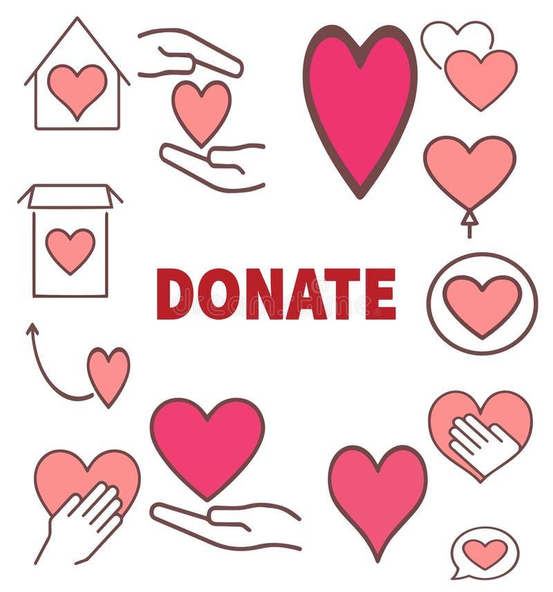 Donate icon set editable symbol design. Vector charity and donation stock illustration