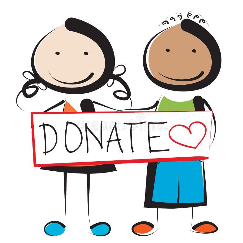 Donate. Illustration of children holding donate sign