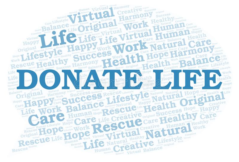 Donate Life word cloud vector illustration