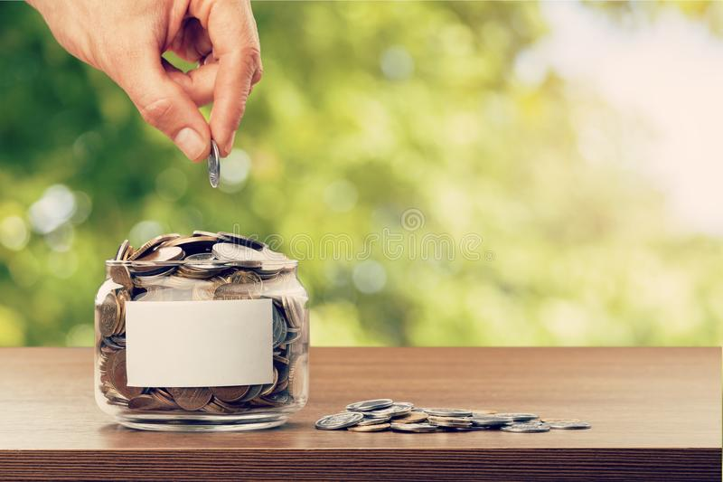 Donate. Money assistance bank cash change coin stock photography