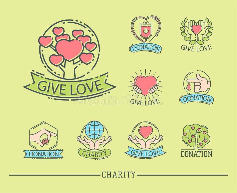 Donate money set logo icons help icon donation contribution charity philanthropy symbols humanity support vector royalty free illustration