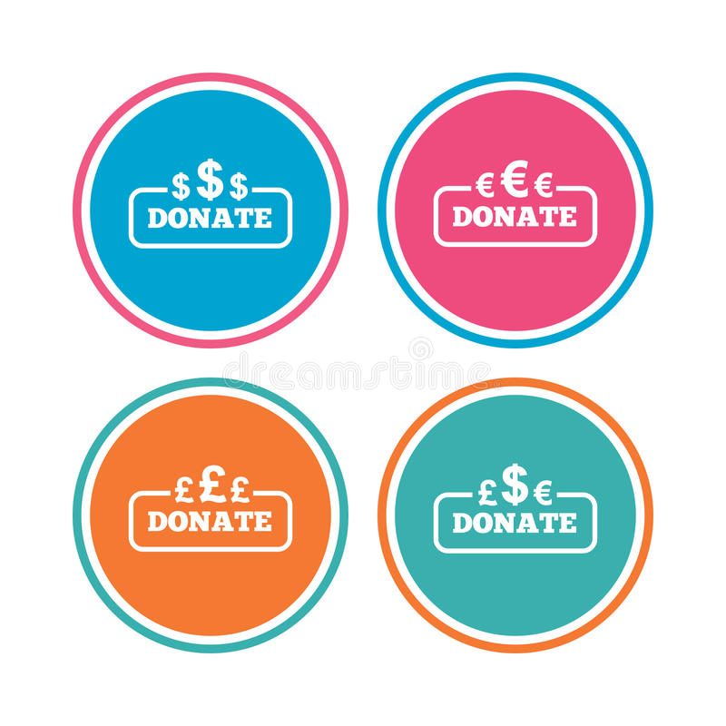 Donate money signs. Dollar, euro and pounds. vector illustration