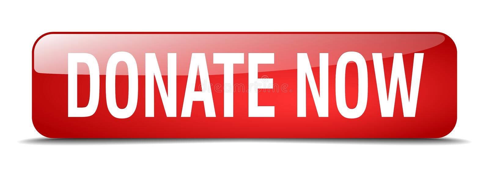 Donate now button. Donate now square 3d realistic isolated glass web button. donate now royalty free illustration
