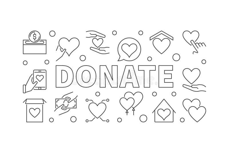 Donate outline horizontal illustration. Vector donation banner stock illustration
