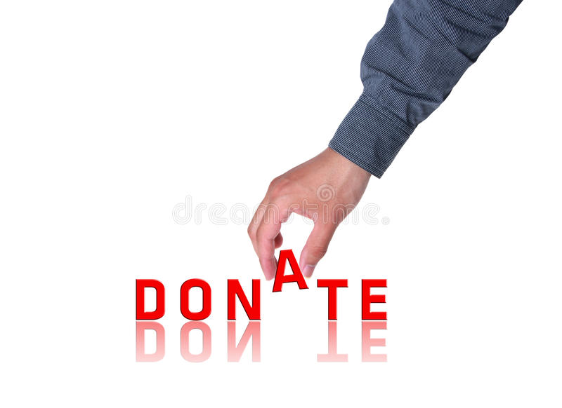 Donate. Red donate with hand on white royalty free stock image