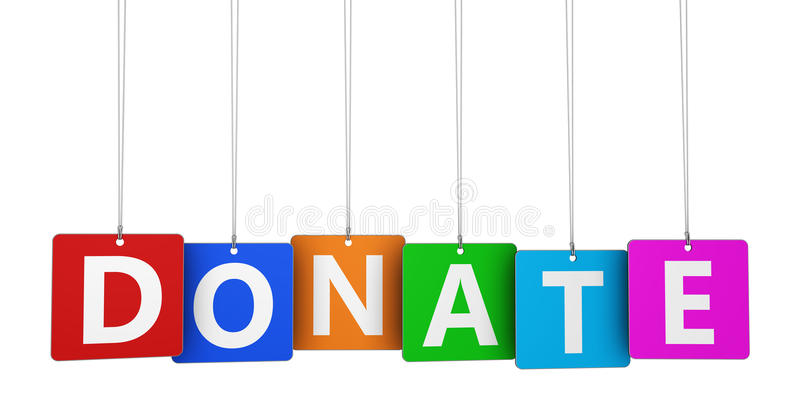 Donate Sign. Donation and financial help concept with donate word and sign on colorful hanged tags isolated on white background royalty free illustration