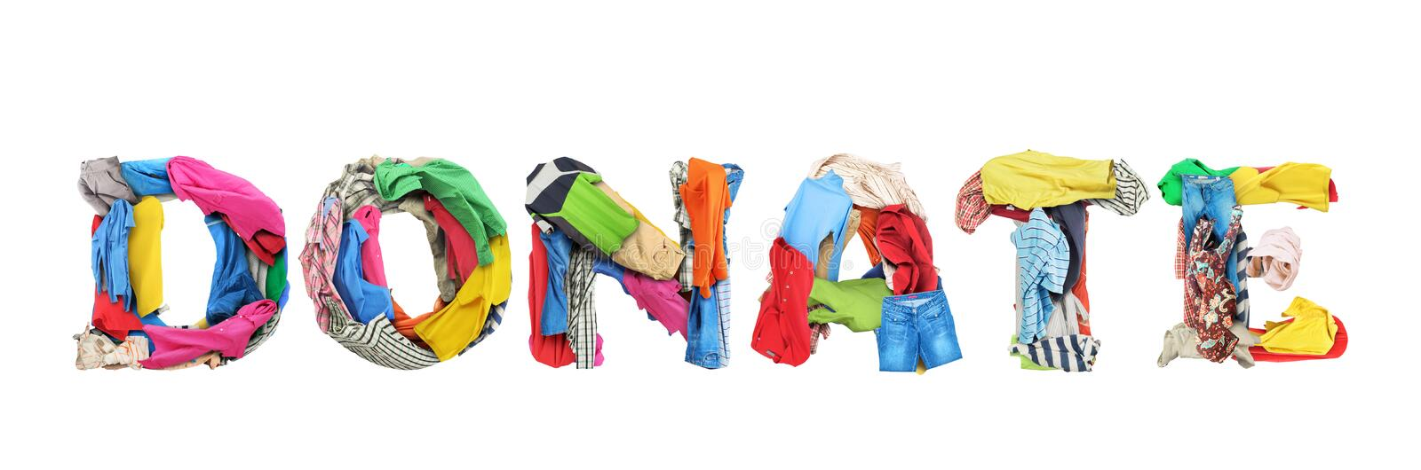 Donate sign made of clothes isolated on white background stock photos