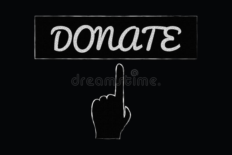 Donate sign with pointing hand. Donate sign on a blackboard with a pointing hand and finger stock illustration