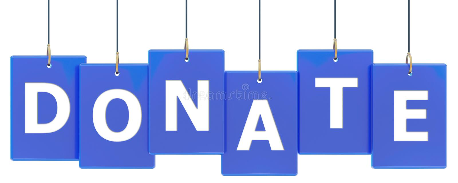 Donate tag banner. Donate 3d rendered blue tag banner , isolated on white background royalty free illustration