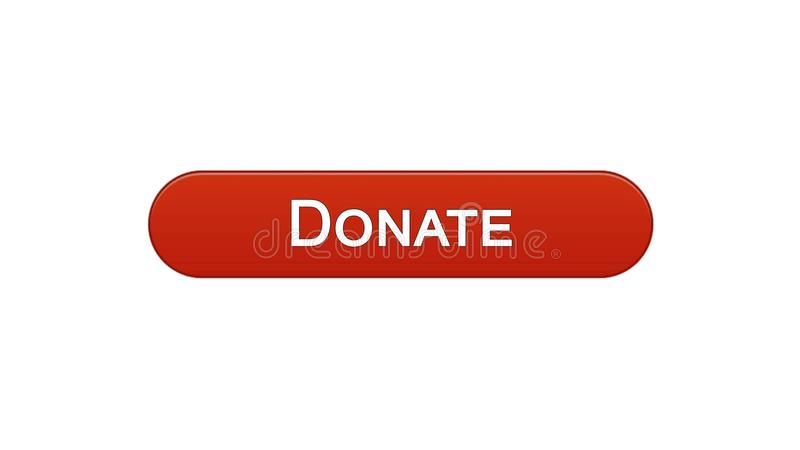 Donate web interface button wine red color, social support, fundraising online. Stock footage stock illustration