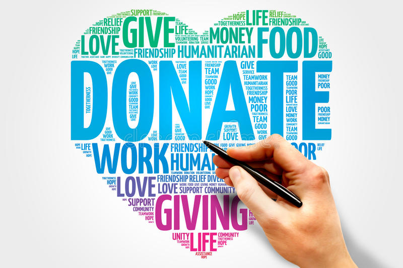 Donate. Word cloud, heart concept royalty free stock photos