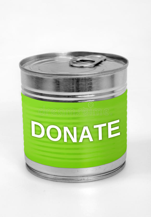 Donate word. On food can royalty free stock images