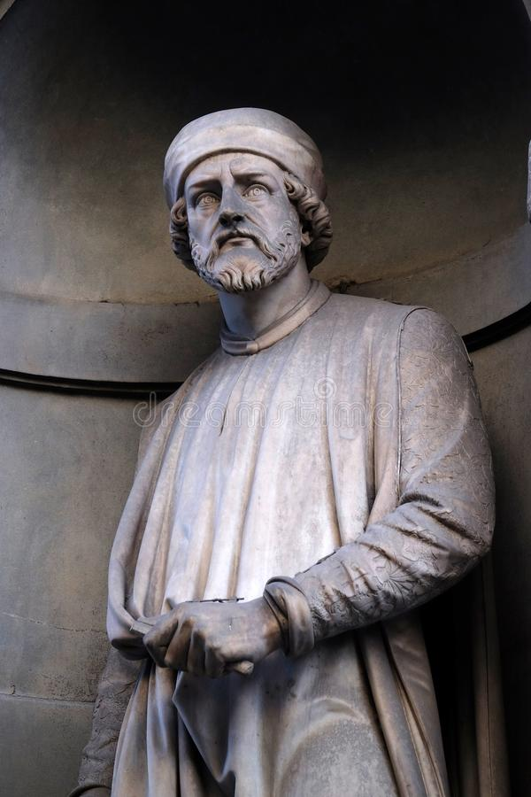 Donatello, statue in the Niches of the Uffizi Colonnade in Florence. Donatello, statue in the Niches of the Uffizi Colonnade. The first half of the 19th Century royalty free stock images