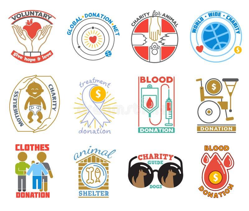 Donateur de logo de charité ou de donation donnant l'activité charitable d'illustration de logotype de sang charitable de donner illustration de vecteur