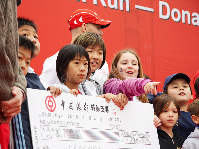 Download Donating For Cancer Reseach Editorial Stock Photo - Image of china, children: 4350943