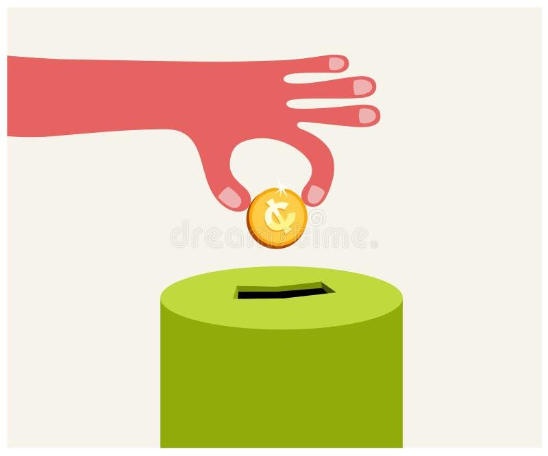 Donating golden coin stock illustration