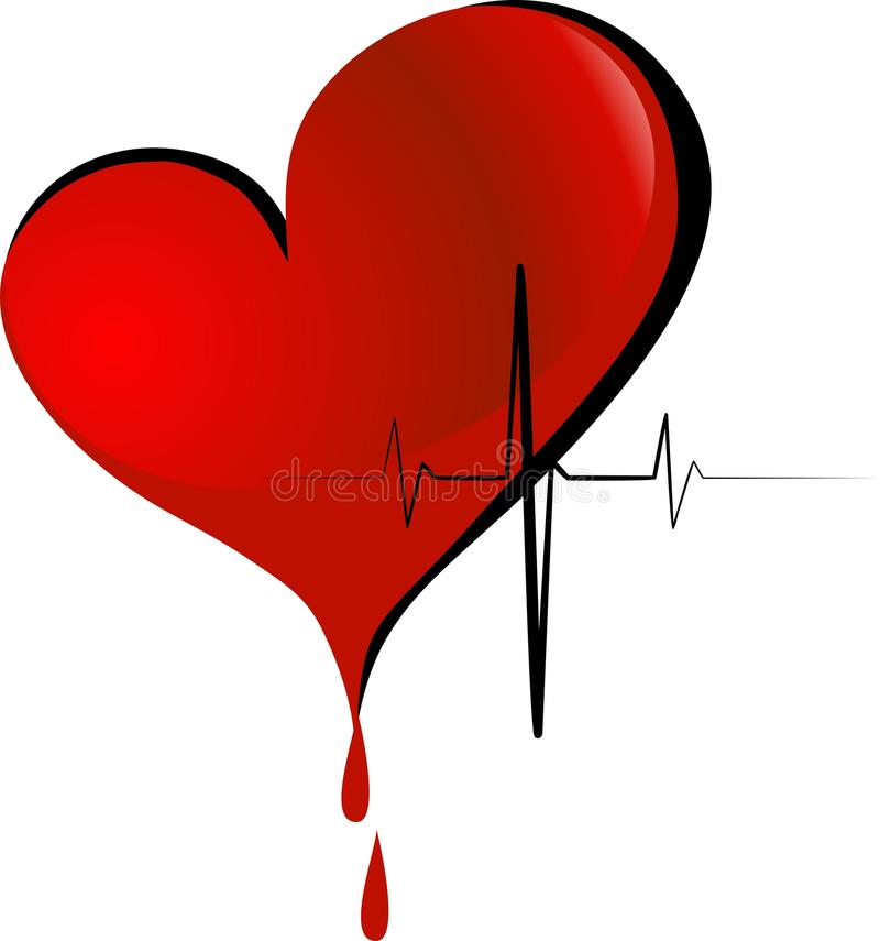 Donation. Big red heart with the flowing blood vector illustration