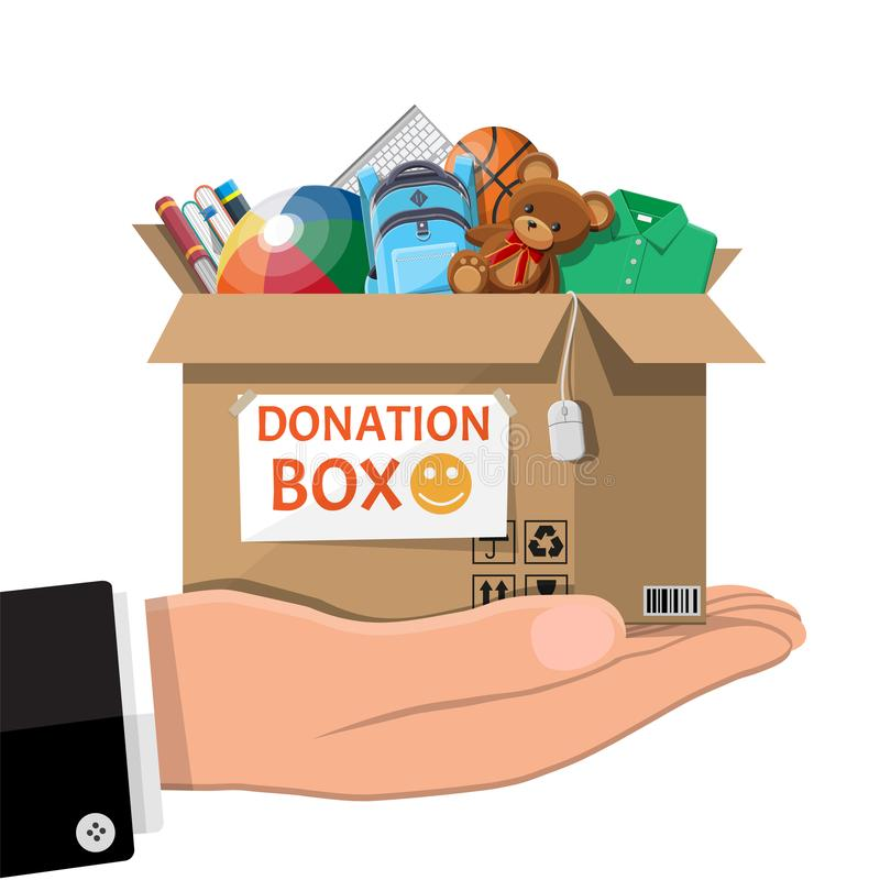 Donation box full of toys, books, clothes, devices. Cardboard donation box full of toys, books, clothes and devices. Help for children, support for poor kid vector illustration