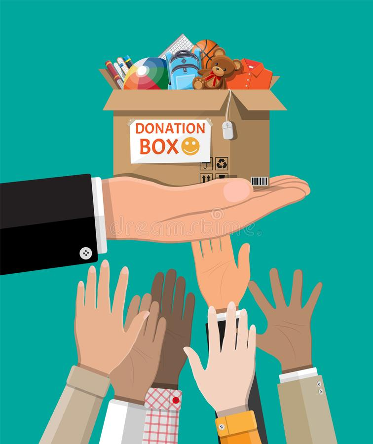 Donation box full of toys, books, clothes, devices. Cardboard donation box full of toys, books, clothes and devices. Help for children, support for poor kid stock illustration