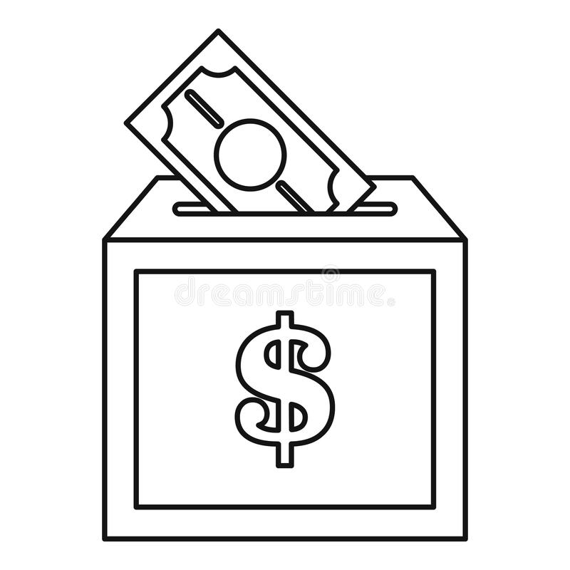 Donation box icon, outline style royalty free illustration