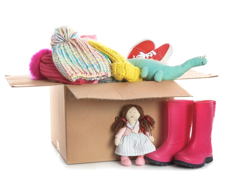 Donation box, shoes, clothes and toys stock photo