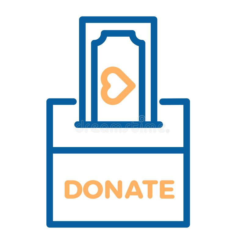 Free Donation Box With A Generous Offer. Cash Bill With An Heart, Kind Money. Vector Thin Line Icon Illustration. Stock Photo - 121824870